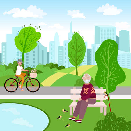 Old couple is in the park, in the city. Senior woman rides on the bike, man sits on the bench and feed birds. Health lifestyle concept vector illustration. Aged family spend time outdoor.