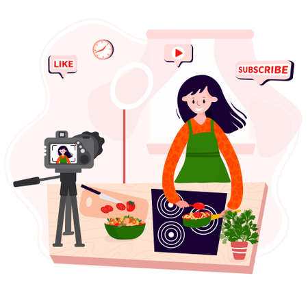Video Blogger cooking online home. Vlogger making food in kitchen. Woman records culinary podcast with camera. Streaming about diet, healthy meal. Ilustrace