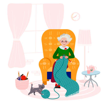 Grandma knitting quilt of yarn in cozy armchair. Old woman happy with her hobby in living room. Elderly Lady with cat in interior. Çizim