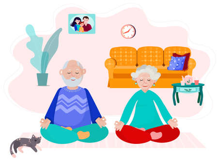 Old couple stay home and do yoga. Elder man and woman meditate in room. Grandparents do exercise together. Grandmother and grandfather work on mindfulness in cozy interior.