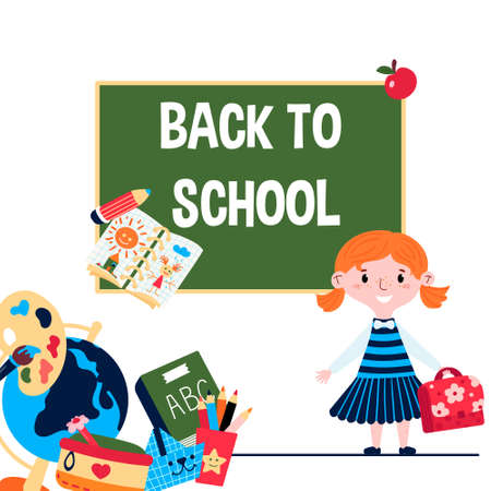 Back to school banner with girl in uniform on chalkboard background. Preschool kid with pink bag. Stationary elements such as ABC book, pencil case, ruler, globe, drawing brush with color palette.