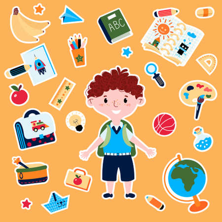 Stickers School with Boy in uniform with backpack. Education decorative objects for elementary school with stationery such as school box, ball, globe, pen, ABC book, apple.