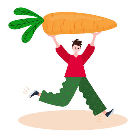 Concept of delivery organic local vegetables. Courier run with gigantic carrot. Man fast move with farmer veggie to supermarket. Character with eco food.