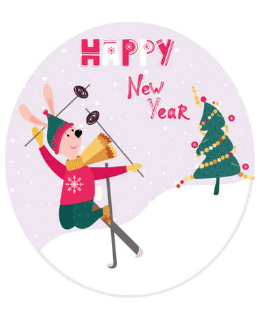 New Year or Christmas greetings card with skiing rabbit. Happy New Year phrase, fun Christmas Tree for decorative poster. Skier Hare in sweater and hat. 向量圖像