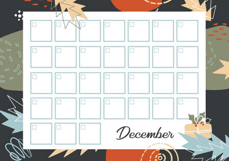 Calendar on December without Data for planner or diary. Printable Timetable for month at winter geometric background. Daily Schedule template on abstract pattern. Stock Illustratie