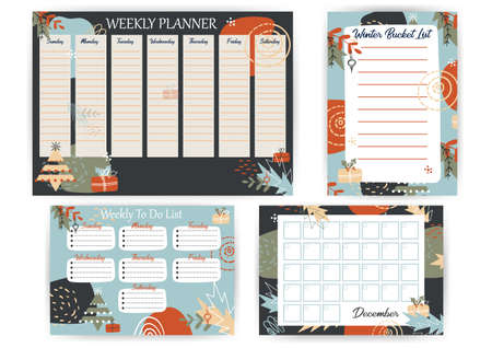 Winter Planner with geometric Christmas Decoration. New Year Bucket List in abstract background. Weekly To Do List on trend pastel color pattern. December Calendar for month for planner or notebook.
