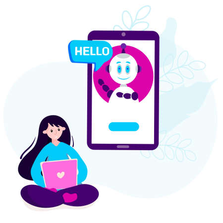 Chatbot, Virtual assistant vector concept. Robot chats with woman. Chatbot messenger support. Online service is in smartphone.