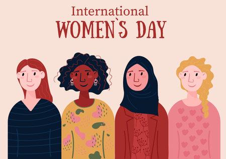 International Womens Day. Diversity group of people. Smiling, happy female of different nationalities, Afro American, European. Vektoros illusztráció