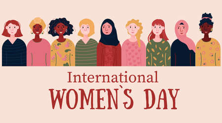 International Women Day Card for 8 March. Happy young female of different nationalities, Afro American, European. Multinational Women empowerment, freedom movement. Illustration for card, banner