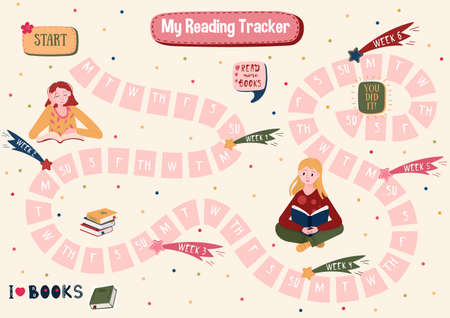 Habits Tracker for reading books. Daily planner for read books. Schedule of students and adult. Stickers with woman of reading books. Routine for every day. Organizer for education.