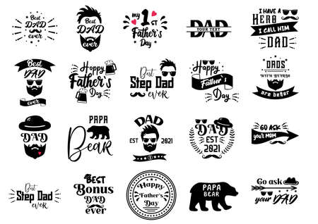 Fathers Day Quotes. Hipster badge for Daddy day. Best Dad ever, Papa Bear typography. Retro hat . Man with Beard for t-shirt, stickers for gift. Vintage label for greeting cards.