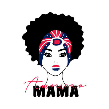 4th of July, American Mama quote. Silhouette Afro Black Woman with red, white, blue bandana.