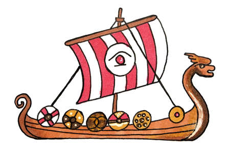 Viking ship with red sails Stockfoto