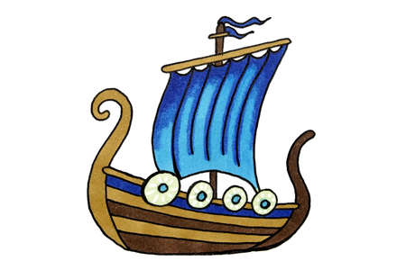 Viking ship with blue sails