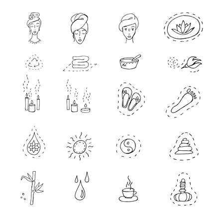 Illustration vector Set of icons on the theme of spa beauty, health, relaxation. Doodle drawing lines isolated 矢量图像