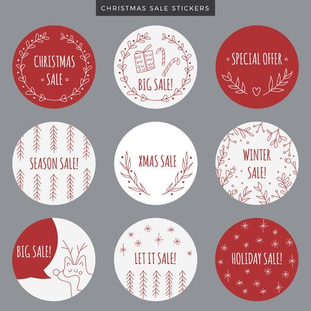 lookalike: Set of Christmas red sale stickers, tags or labels with hand drawn elements. Vector printable items. Holiday doodle decoration, plants, gifts, trees, snowflakes, wreath, garlands and deer look-alike dog. Illustration