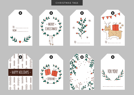 year of the dog: Set of Christmas and New Year holiday gift tags, labels with hand drawn elements. Vector printable illustration. Doodle plants, gifts, trees, snowflakes, wreath, garland and deer look-alike dog.