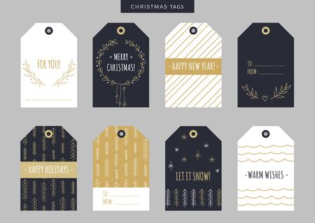 lookalike: Set of gold Christmas and New Year holiday gift tags, labels with hand drawn elements. Vector printable illustration. Doodle plants, gifts, trees, snowflakes, wreath, garland and deer look-alike dog.
