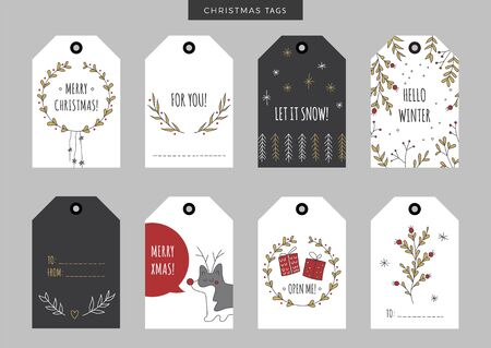lookalike: Set of Christmas and New Year holiday gift tags, labels with hand drawn elements. Vector printable illustration. Doodle plants, gifts, trees, snowflakes, wreath, garland and deer look-alike dog.