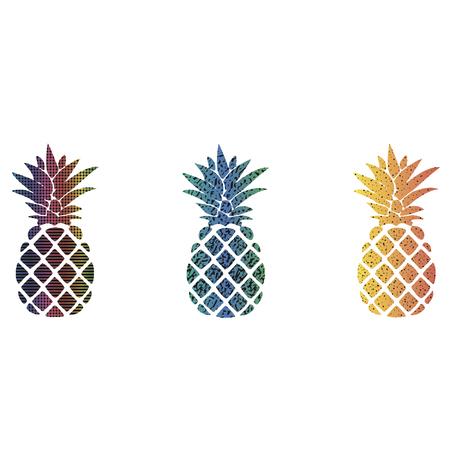ananas drie verschillende kleuren op een witte achtergrond