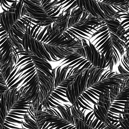 Seamless pattern, black and white palm leaves. Tropical pattern, botanical leaf backdrop. Trendy design for fabric, textile print, wrapping paper. Vector illustration