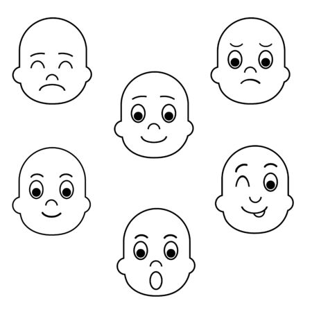 Various funny faces for different mood and emotions expression