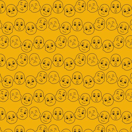 Cute seamless pattern with emoji and abstract geometric shapes in memphis style.