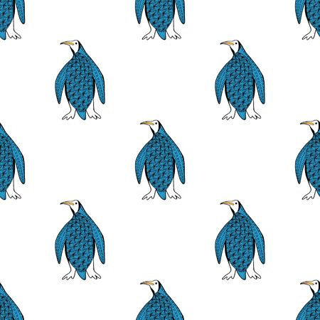 Cute Antarctic penguin seamless pattern. Hand drawn picture. Trendy vector background in blue. For the design of wrapping paper, wallpaper, curtains, tablecloths, printed products. Illustration