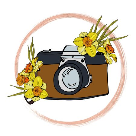 The composition of the camera and a bouquet of daffodils. Doodle style logo with flower illustration on a white background. For design, print or background.