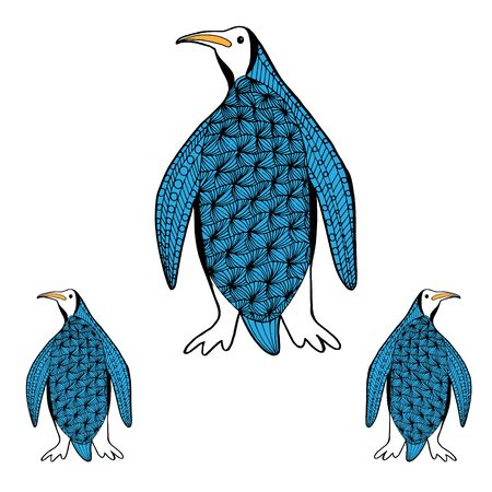 Big and small penguins in full growth, sketch vector graphics black and white drawing drenched in blue. Object on a white background. Penguins family.