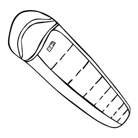 Camping Sleeping bag icon. Hiking adventure equipment symbol. Travel pictogram. Black and white lines. Design element for menu, poster, emblem, badge, banner, flyer.  イラスト・ベクター素材