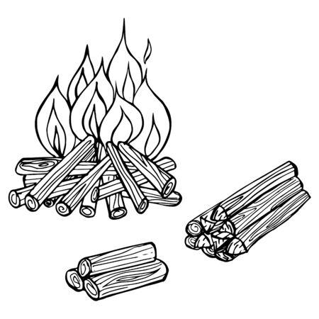 campfireIllustration of a fire and firewood on a white background. Tourism, camping. Design element for menu, poster, emblem, badge, banner, flyer. Ilustração