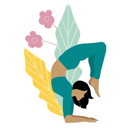 Female yoga. women doing sports, yoga, dancing, running, jogging, jumping, fitness. Sport women vector flat illustration isolated on white background in different poses - Vector Ilustracja