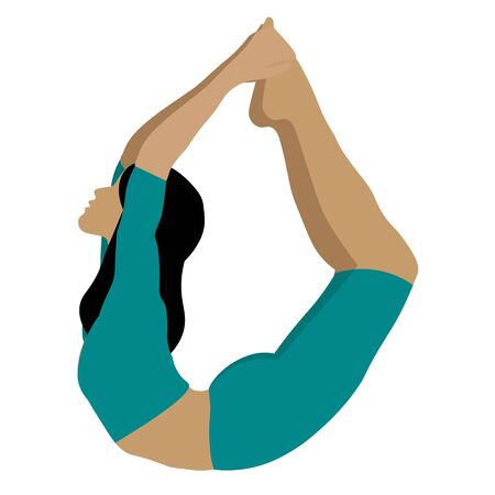 Female yoga. women doing sports, yoga, dancing, running, jogging, jumping, fitness. Sport women vector flat illustration isolated on white background in different poses - Vector Zdjęcie Seryjne