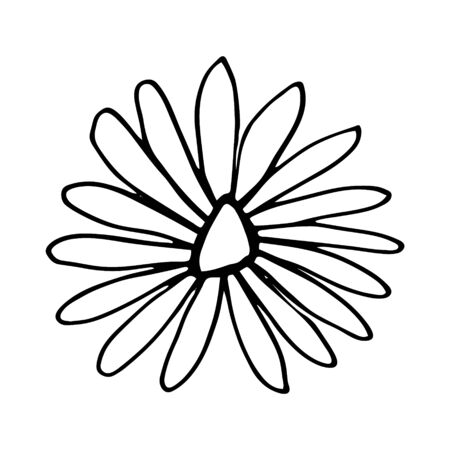 Colorful black and white pattern for coloring. Daisy flower illustration. Coloring pages for children and adults. Vector image. wedding decoration. Circuit. 写真素材 - 143084725