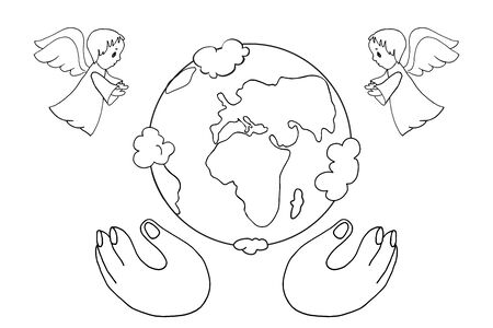 The Christian biblical story of the birth of the earth. Angels announce the birth of the earth. God s hands. Easter, Christmas. Black and white coloring. For children and adults. Antistress.