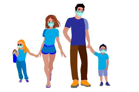 A family. Mom, dad and masked children. Quarantine and self-isolation measures in Europe. Masked people on the street to prevent diseases, coronaviruses, flu, air pollution. Vector illustration