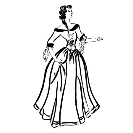 Colorful black and white pattern for coloring. Illustration of a girl dancing an old dance. Minuet. Coloring pages for children and adults. Vector image. wedding decoration. Circuit.