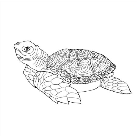 Sea Turtle Coloring Book. Hand drawing coloring book for children and adults. Beautiful drawings with patterns and small details. For anti-stress and children s coloring page, emblem or tattoo.