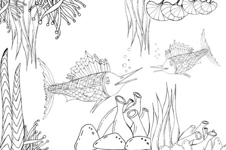 Marlin fish. Vector illustration of sea animals. oloring book. Beautiful drawings with patterns and small details. For anti-stress and children s coloring, emblems or tattoos.