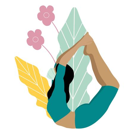 Beautiful athletic girl in a mask does yoga at home. KOVID-19 prevention.Social distance in the coronavirus pandemic. Stay home, stay safe concept. Yoga pose, meditation and healthy lifestyle. Ilustracja