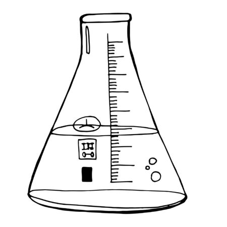 Conical and round bottom flasks, high and short tubes. The vessels are filled with multi-colored chemical liquids. Laboratory experiment. Scientific set. Vector doodle illustration