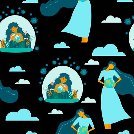 Seamless pattern. Young excited woman holds the globe in her hands, protects the planet from a pandemic. Hoping for recovery and happiness. Coronavirus pandemic concept
