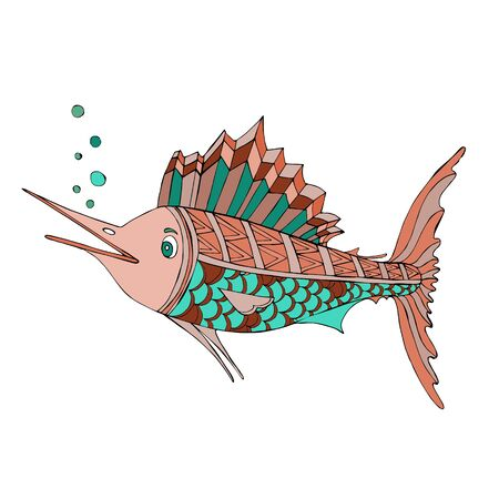 Marlin fish. Vector illustration of sea animals. Coloring book. Beautiful drawings with patterns and small details. For stickers, baby clothes design, textiles, scrapbook sets, emblems and tattoos.  イラスト・ベクター素材