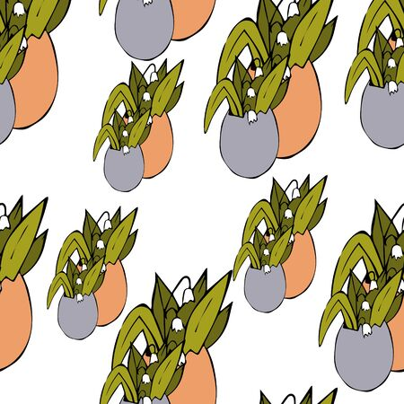Seamless pattern - easter eggs with lilies of the valley and green leaves. Isolated. For the design of Easter invitations, cards, kraft paper, tags, gift wrapping paper. Ilustração