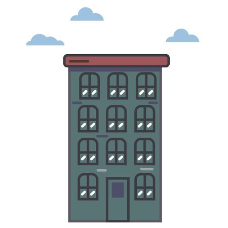 Vector of multi-storey buildings in retro style. Windows, balconies, doors. Urban background with facades of buildings, can be used as wallpaper, wrapping paper, fabric, fabric