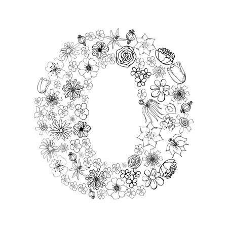 Vintage floral alphabet. Bukvaa o. Hand drawn vector illustration. There are other letters in my portfolio. Suitable for covers, menus, branding, labels, coffee, tea packaging design.