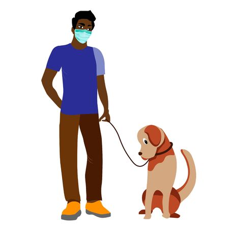 A young African American man in a protective mask walks with a Labrador dog. Social distance in the context of the coronavirus pandemic COVID-19. Vector illustration flat design.