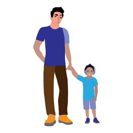 Paternity. Smiling dad holding son. Father s love, raising sons and a little boy with dad. Happy family. Cute cartoon characters isolated on white background. Colorful vector illustration Banco de Imagens - 145031277