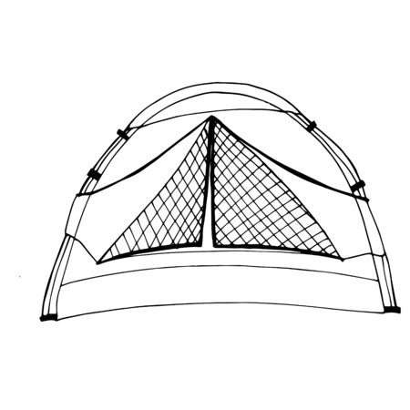 Tent for tourism, cartoon sketch illustration of camping equipment. Vector For the design of banners, signboards, stickers, printed matter Stock Illustratie